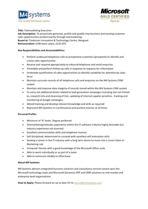 Telemarketer Resume Description by Telemarketing Description Cover Letter Exles For Customer Service Resume Cv
