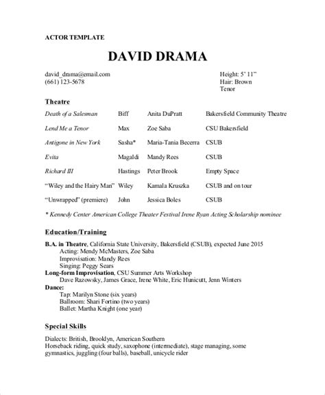 theatre resumes theater resume template 6 free word pdf documents