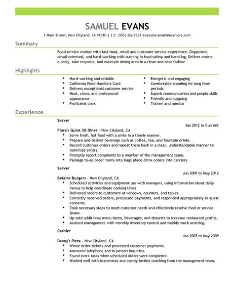 example of restaurant resume resume samples the ultimate guide livecareer