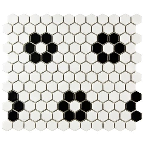 home depot merola hex tile merola tile metro hex matte white with flower 10 1 4 in x