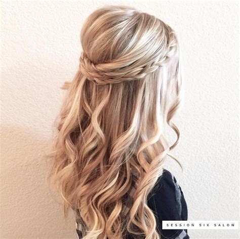 Wavy Half Updo Hairstyles by Bridal Half Updo With Small Braid Hairstyles In 2019