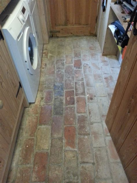 unique brick kitchen floor restored in wrestlingworth