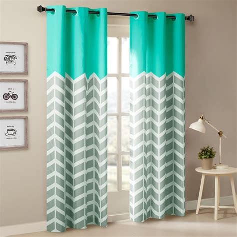 Grey And White Chevron Curtain Panels by Beautiful Modern Grey Aqua Blue Chevron Stripe Energy 63