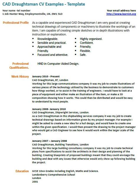 Architectural Draughtsman Resume Format by Cad Draughtsman Cv Exle Learnist Org