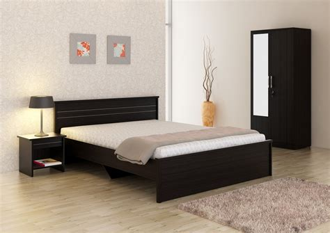 spacewood engineered wood bed side table wardrobe