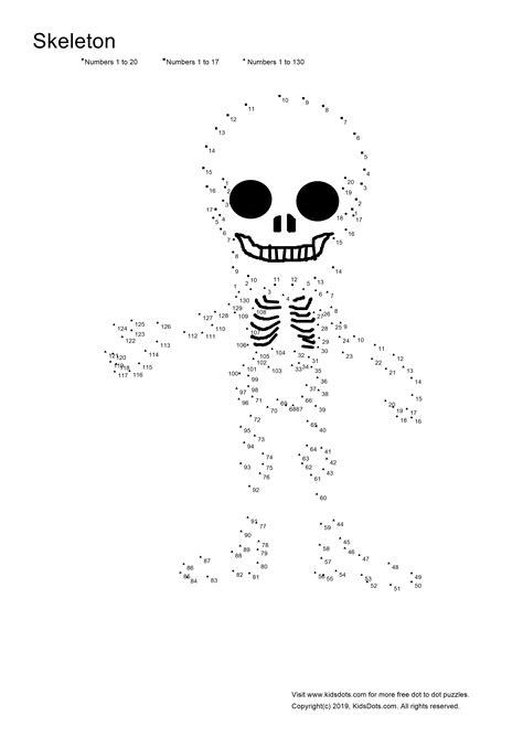 KidsDots - Skeleton Dot-to-dots | Dot to dot puzzles, Dots