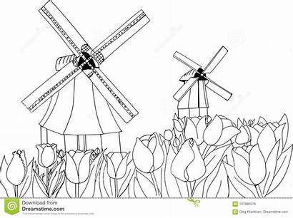Landscape Windmill Tulip Coloring Dutch Tulips Holland
