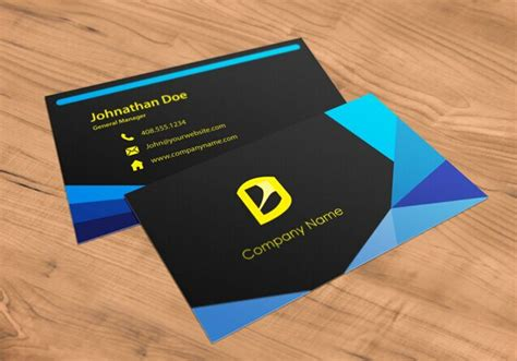 Free Black & Blue Geometric Business Card Template Psd Business Card Printing Fort Lauderdale Cards Paper Plan Sample Vending Machine Amsterdam Next Day Delivery Print Services Sandton Egypt