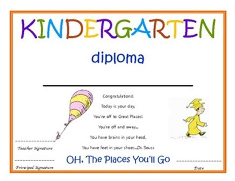 I would like to genuinely thank you all for coming out here tonight to celebrate with us our bittersweet moments of graduation. Kindergarten Diploma with signatures- Dr. Seuss by Kindergarten Nerd