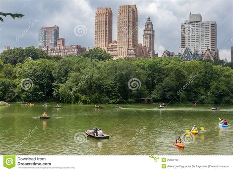 Central Park Boat Paddling by Central Park And Tourists Paddling Editorial Stock Photo