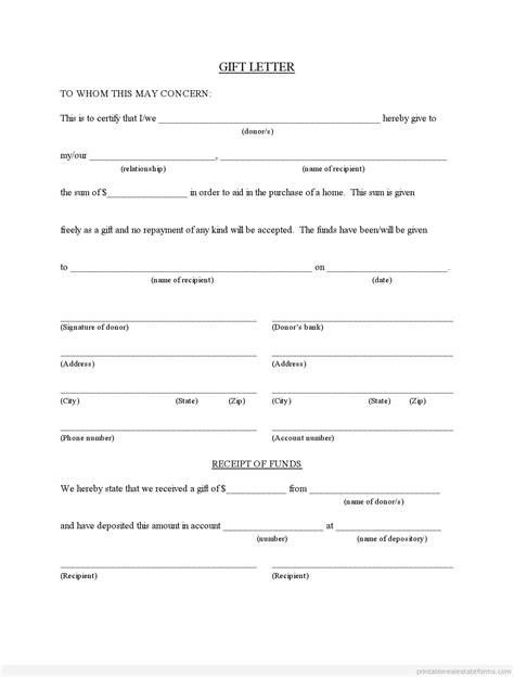 real estate gift letter forms printable sample