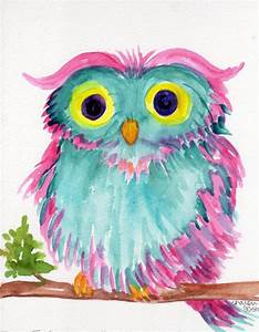 Owl Original watercolor painting, Colorful Bird art, owl ...