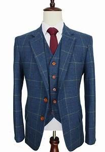 Wool Blue Ckeck Tweed Custom Made Men Suit Blazers Retro