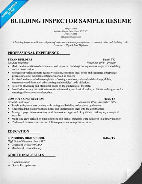 Building Engineer Resume Cover Letter by Construction And Building Inspector Resume Application Letter City Traffic Engineer Sle