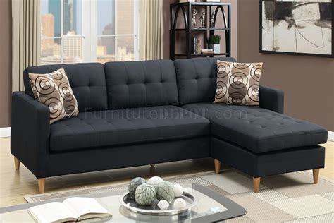 Black Fabric Sectional Sofas Lomma Sectional Sofa Ottoman