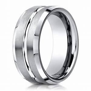 Designer Men39s 950 Platinum Wedding Band Polished Center