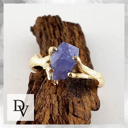 Raw Ring Engagement Yellow Diamond Tanzanite Gemstone