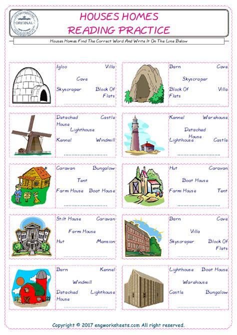 houses homes esl printable english vocabulary worksheets