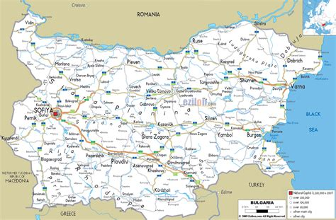 road map  bulgaria ezilon maps