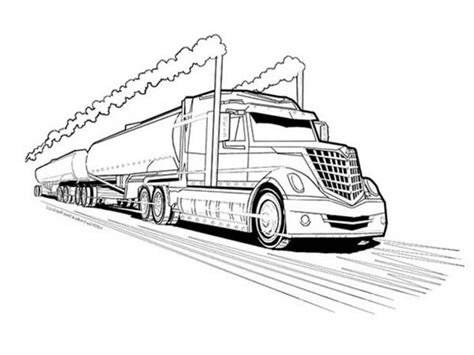 Tractor Trailor And Coloring Sheets Double Tanker Trailer