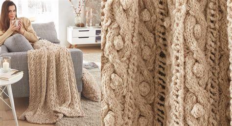 le plaid tricote en torsades beige prima
