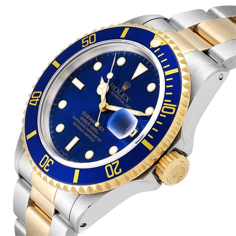 Rolex Submariner Blue Dial Steel Yellow Gold Mens Watch ...