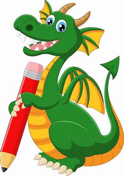 Dragon Cartoon Vector Holding Pencil Premium Copy