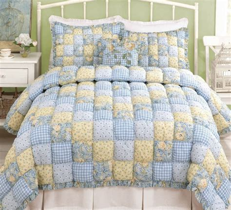 puff quilt full queen or king set cottage blue yellow
