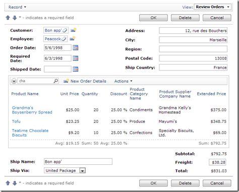 sample applications order form custom form template