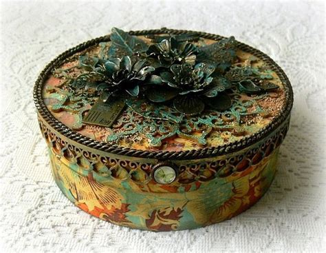 altered wooden box mixed media box vintage style