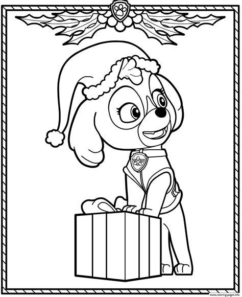 paw patrol holiday christmas skye coloring pages printable