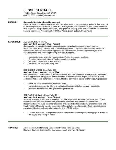attractive assistant bank manager resume template sle