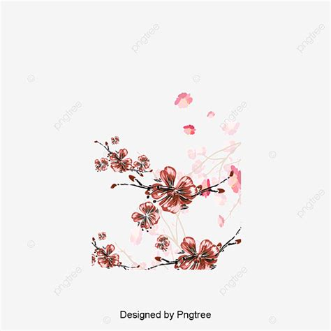Hand Painted Pink Peach Vector Peach Blossom Pink Hand