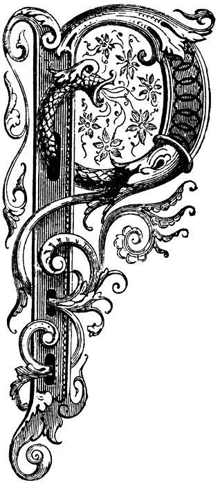 "Letter ""P"" with a dragon | Lettering alphabet, Clip art"