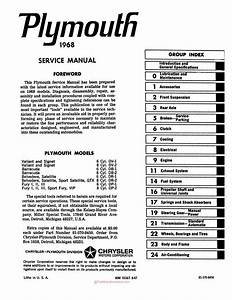 1968 Plymouth Factory Service Manual  Valiant  Barracuda  Fury
