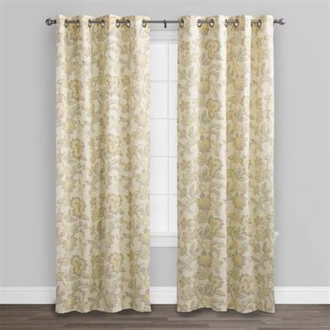 beige and yellow floral cotton crepe curtains set of 2