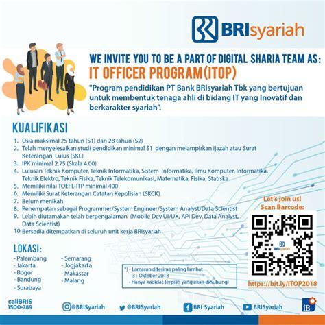 lowongan kerja rekrutmen bank bri syariah  lulusan