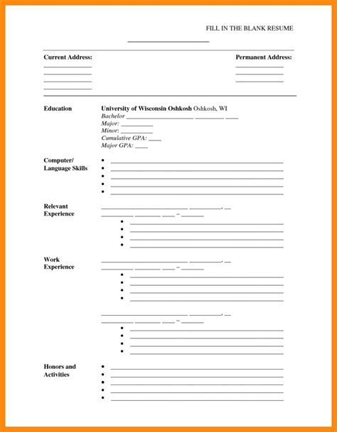 Cv Template To Print by Printable Cv Template New 2 Blank Cv Template Uk