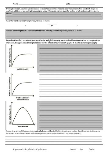 limiting factors of photosynthesis worksheet photosynthesis limiting factors graphs worksheet by