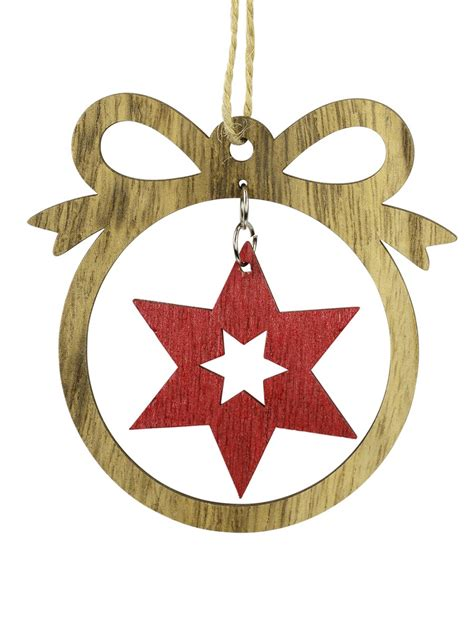 mdf bow  red star cut  hanging decoration cm