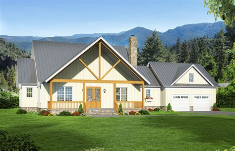 mountain cottage  attached  car garage vr architectural designs house plans