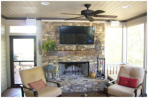 atlanta porches by synergy outdoor fireplace and tv setup