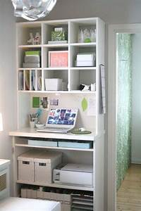 57 cool small home office ideas digsdigs for Small home office storage ideas