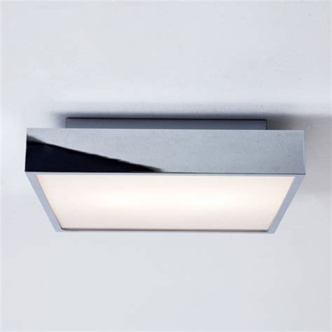 ip44 square chrome and glass bathroom ceiling light with