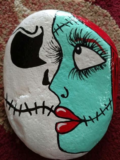 jack  sally nightmare  christmas rock painting