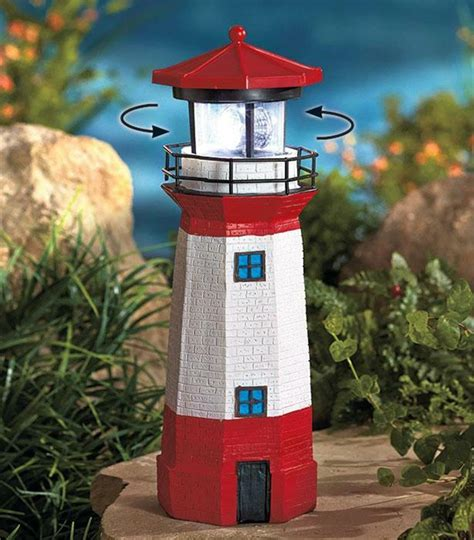 solar decorations outdoor realistically detailed solar rotating l lighthouse
