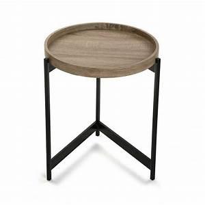 Table De Chevet Ronde : table basse d appoint ronde plateau bois metal noir versa hennan ~ Teatrodelosmanantiales.com Idées de Décoration