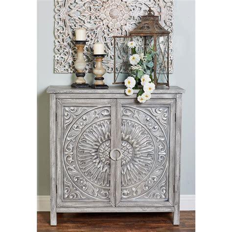 2 Door Cabinets by Litton Mettalic Gray 2 Door Wood Flourished Cabinet