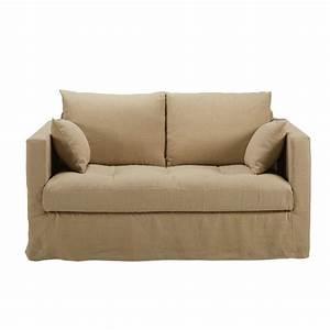 maisons du monde canape 2 places en lin lave beige basile With tapis de course avec canapé en lin lavé