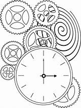 Clock Coloring Steampunk Gears Drawing Pages Face War Clocks Printable Gear Sheets Patterns Sundial Adult Template Colouring Adults Bing Drawings sketch template